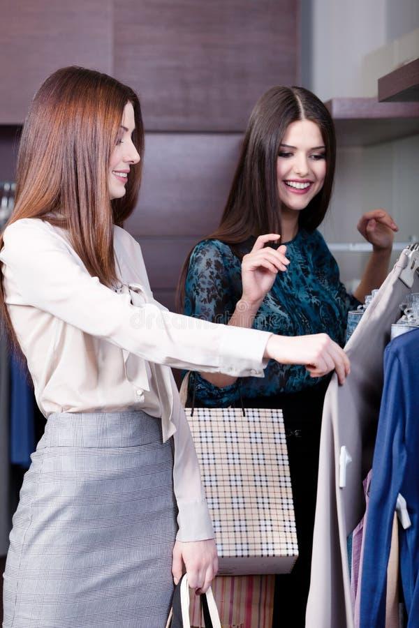 De vrouwen doen het winkelen stock afbeelding