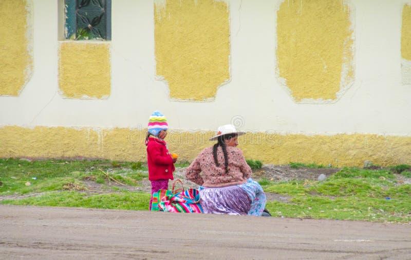 De vrouwen en het kind van Bolivië royalty-vrije stock afbeeldingen
