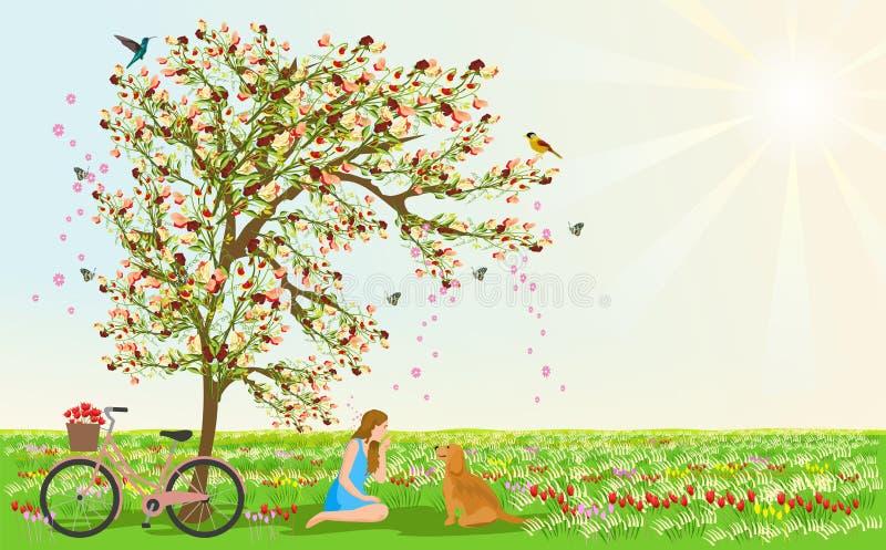 De vrouwen en de honden zitten onder de bloemboom Er zijn fietsen naast hen Er zijn weiden en bloemen op de achtergrond vector illustratie