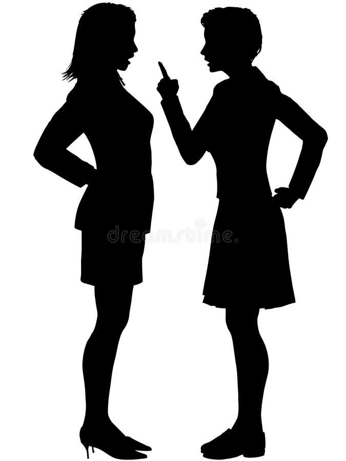 De vrouwen gaan schreeuwen de bespreking van het strijdargument niet akkoord stock illustratie