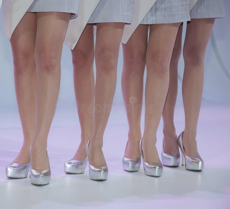 De vrouwen gezet op kous en high-heeled schoen bevinden zich op F royalty-vrije stock fotografie