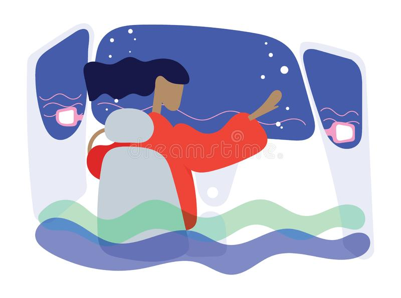 De vrouwen hebben hulp nodig toen de auto in het water viel vector illustratie