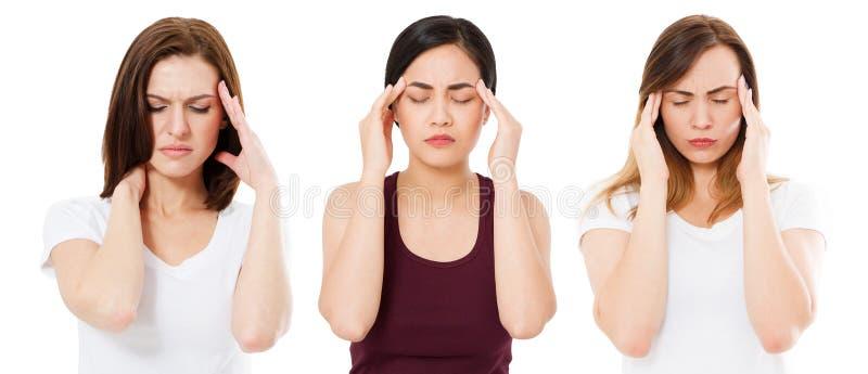 De vrouwen met hoofdpijn die op wit wordt geïsoleerd, die aan Aziatische en Kaukasische vrouw lijden, lijden aan mensen royalty-vrije stock afbeelding
