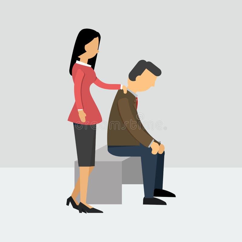 De vrouwen moedigen haar echtgenoot aan die gedeprimeerd is stock illustratie