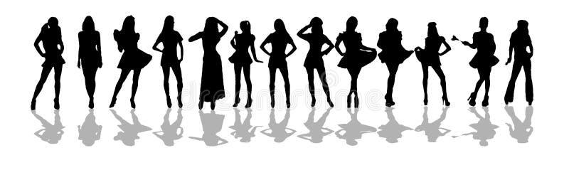 De vrouwen silhouetteren stock illustratie