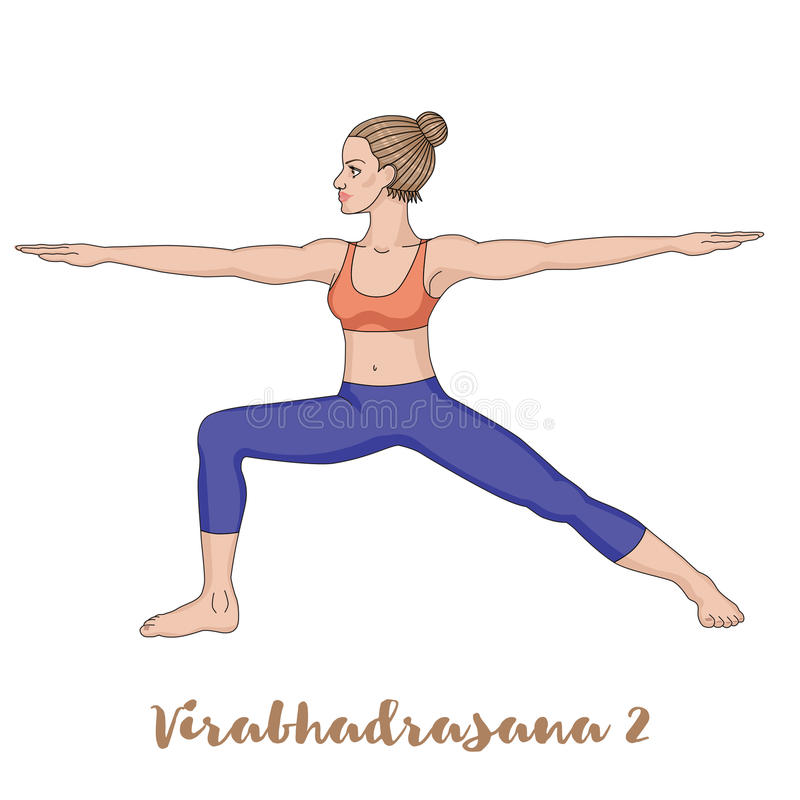 De Vrouwen Silhouetteren Strijder 2 Yoga Stelt Virabhadrasana 2 ...