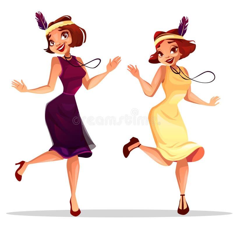 De vrouwen van jazzdansers in cabaret vectorillustratie vector illustratie
