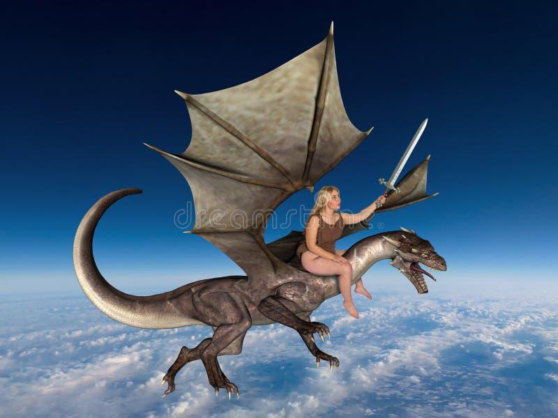 De Vrouwen Vliegende Draak van de fantasieactie stock afbeeldingen