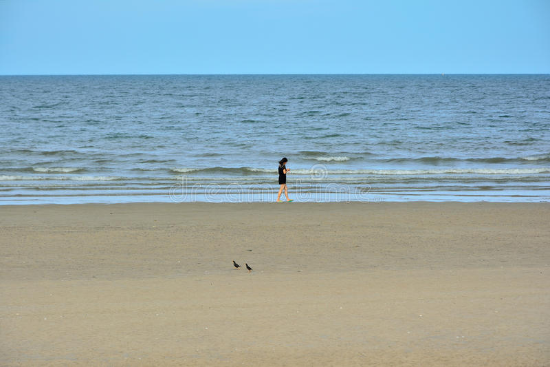 De vrouwen in zwarte lopen op het strand stock foto's