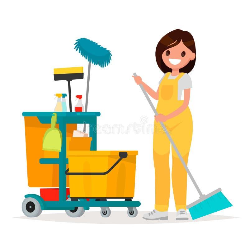 De vrouwenarbeider van de schoonmakende dienst houdt een zwabber Vectorillust royalty-vrije illustratie
