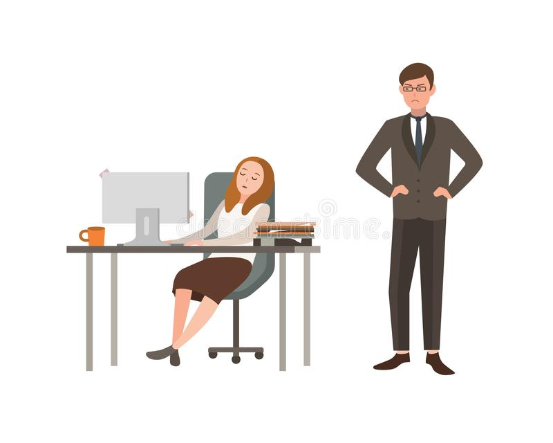De vrouwenbeambte zit bij bureau met computer en de slaap, zijn werkgever bekijkt boos hem Concept moeheid op het werk stock illustratie