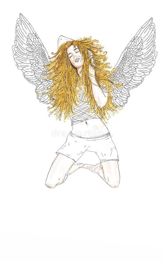 De vrouwenengel met lange blonde haargodsdienst royalty-vrije illustratie