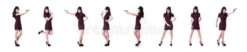 De vrouwengangster met pistool op wit royalty-vrije stock fotografie