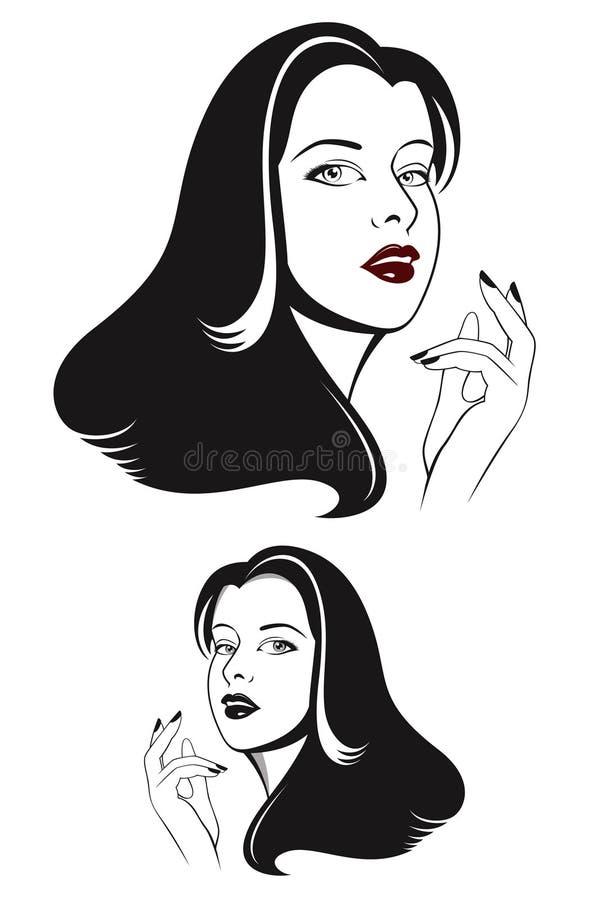 De vrouwengezicht van de aantrekkingskracht met lang zwart haar vector illustratie