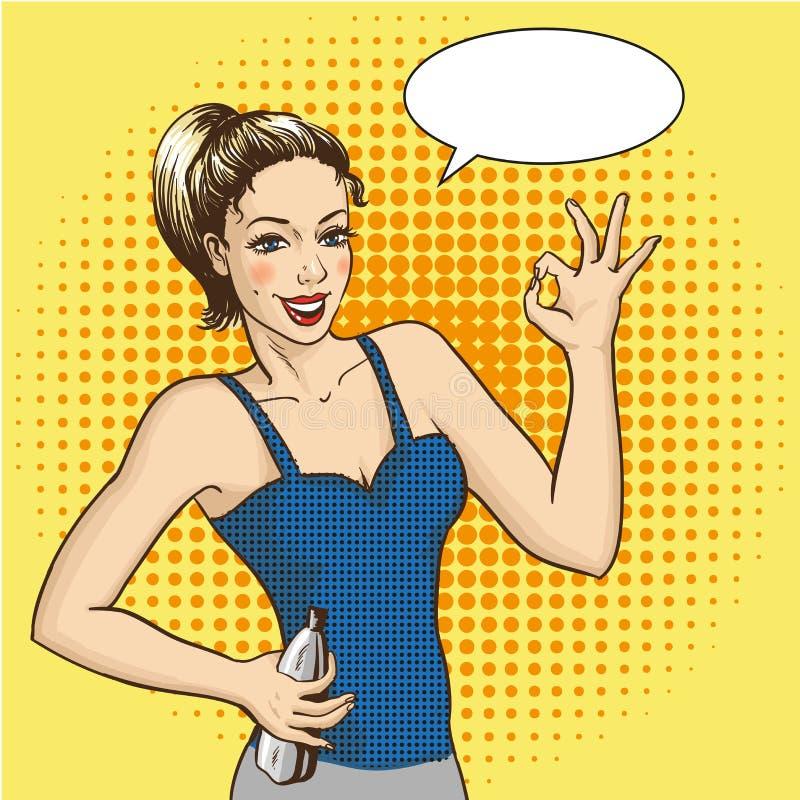 De vrouwenglimlachen en toont O.K. handteken met toespraakbel Vectorillustratie in retro grappige pop-artstijl Het meisje van de  stock illustratie