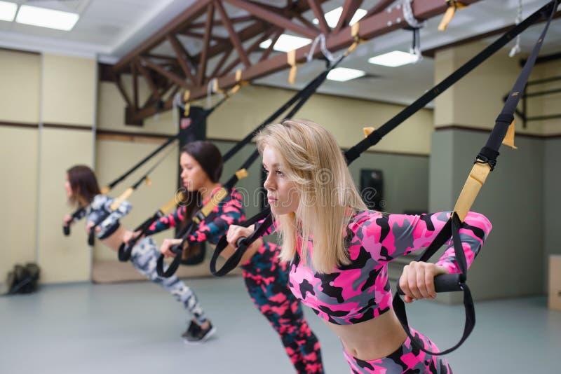 De vrouwengroep voert opdrukoefeningen met opschortingsriemen, geschiktheidstraining bij gymnastiek, selectieve nadruk uit stock foto