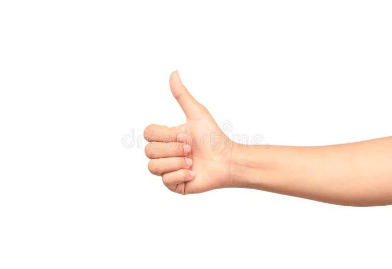 De vrouwenhand met duim isoleert omhoog op witte achtergrond stock foto's