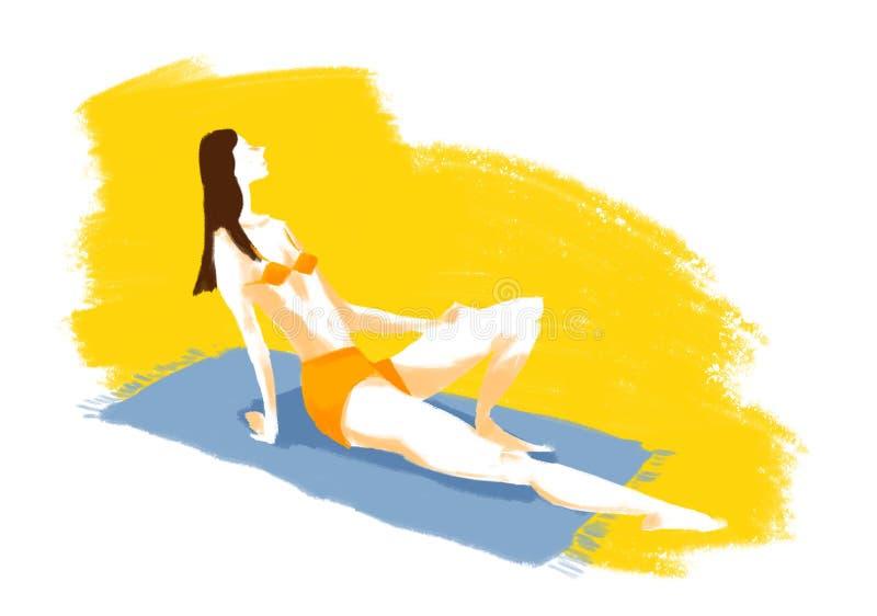 De vrouwenillustratie van de strandhanddoek royalty-vrije stock afbeelding