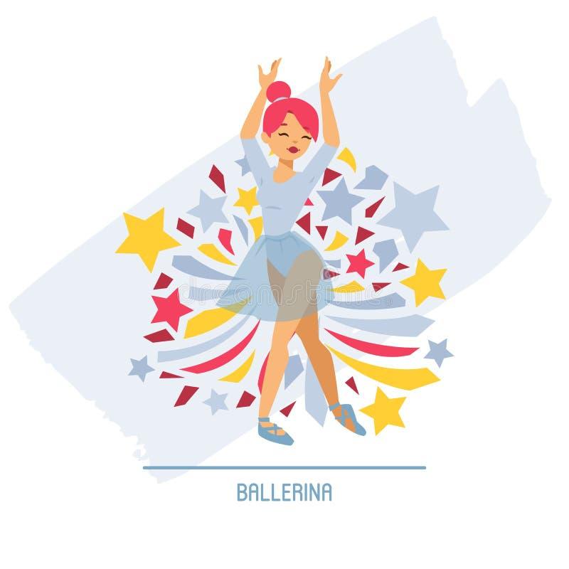 De vrouwenkarakter die van de balletdanser vectorballerina in van de ballet-rok de achtergrond tutuillustratie van klassiek balle vector illustratie