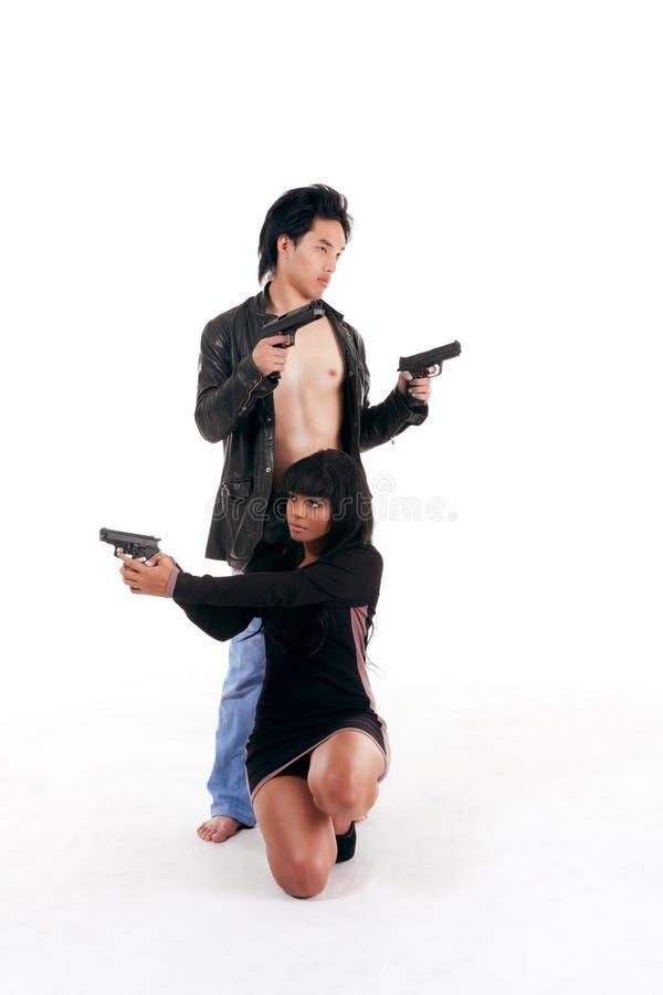 De vrouwenman van het paar het misdadige silhouet van de detectivegeheimagent stock foto
