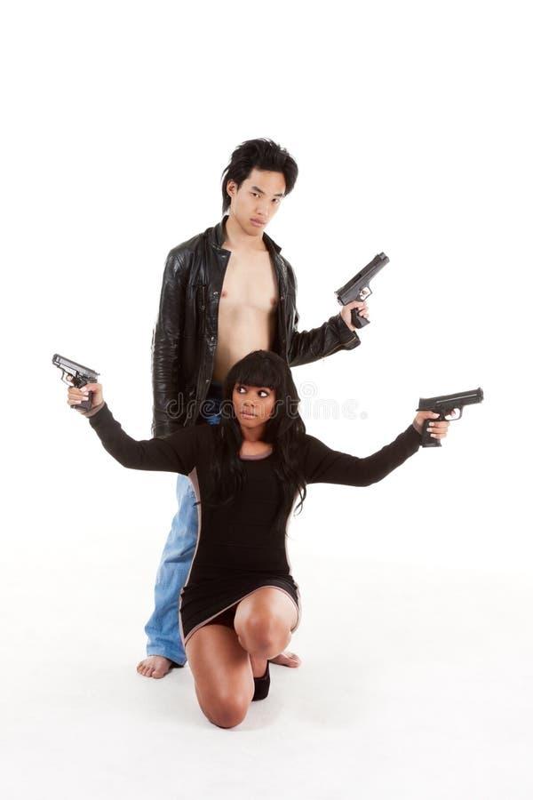 De vrouwenman van het paar het misdadige silhouet van de detectivegeheimagent stock foto's