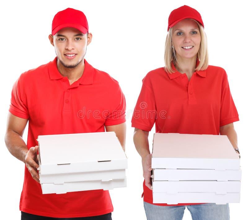De vrouwenman van de pizzalevering orde die die baanjongelui leveren op wit worden geïsoleerd stock fotografie