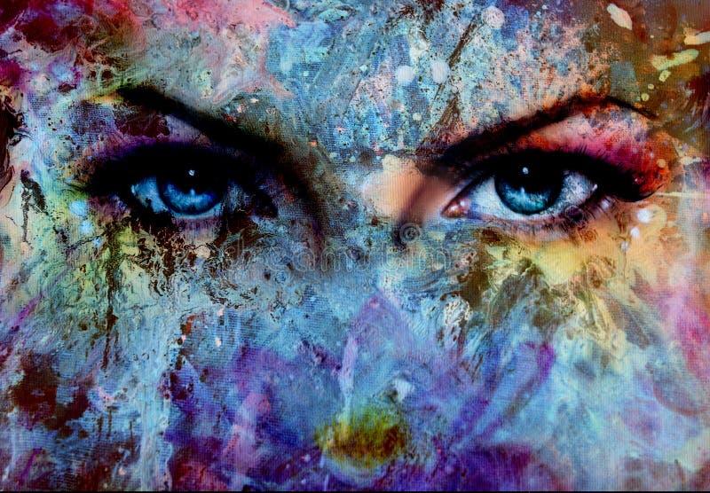 De vrouwenogen en het schilderen het kleureneffect, maken omhoog en oogcontact royalty-vrije illustratie