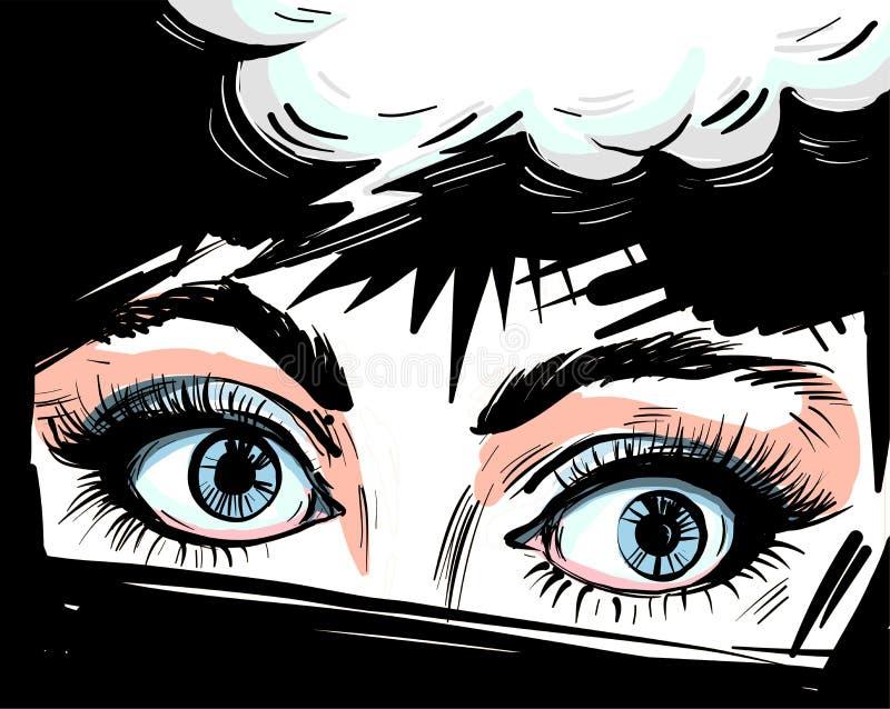 De vrouwenogen sluiten omhoog vector illustraton met toespraakbel, het verraste wauw vrouwelijke gezicht van de pop-art retro gra stock illustratie
