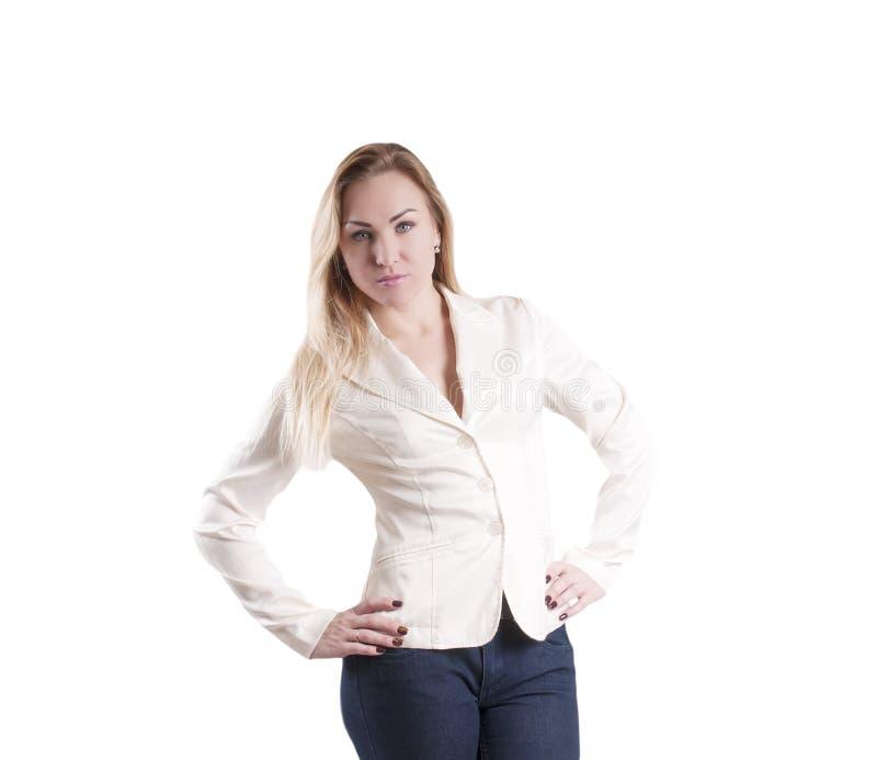 De vrouwenonderneemster in een jasje overhandigt op de geïsoleerde taille, ernstig, emotie, uitdrukking royalty-vrije stock fotografie
