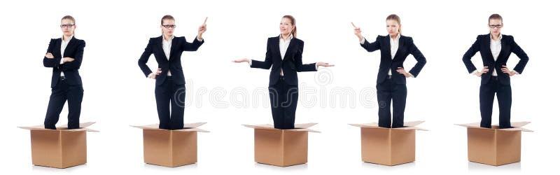 De vrouwenonderneemster op wit wordt geïsoleerd dat stock foto