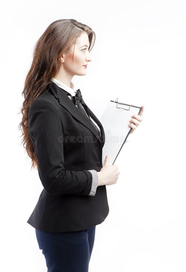 De vrouwenprofiel van het bureau stock foto