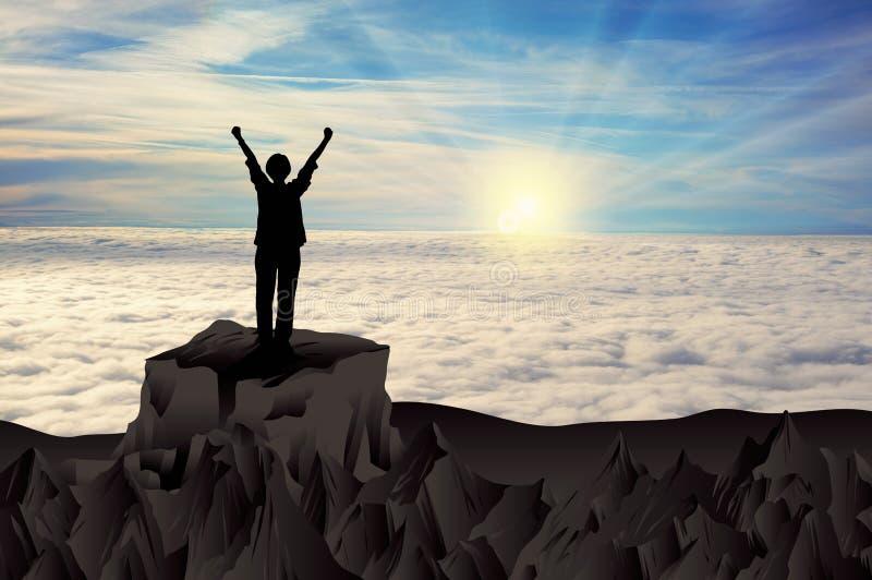 De vrouwensilhouet van de bergoverwinning bovenop rots vector illustratie