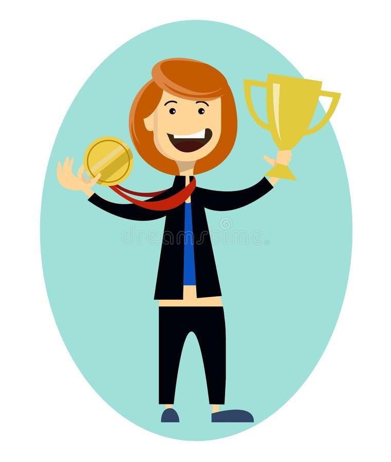 De vrouwensportman wint en krijgt gouden medaille, kampioen Sportieve voltooiing vector illustratie