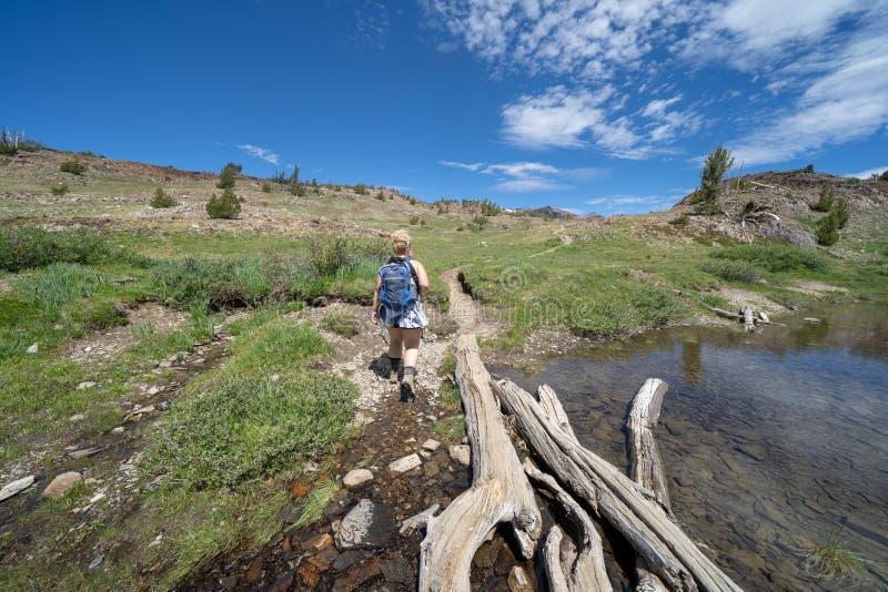 De vrouwenwandelaar loopt langs de vuilsleep in de stijging van het 20 Merenbassin in de Oostelijke Sierra Nevada bergen van Cali royalty-vrije stock afbeeldingen