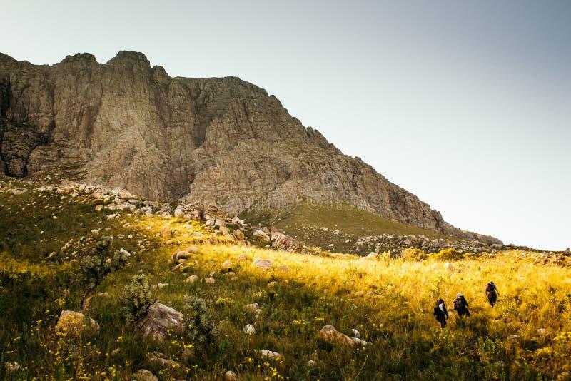 De vrouwenwandelaars op een aard lopen stock afbeelding