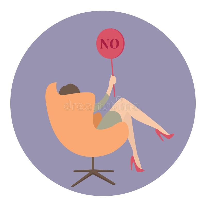 De vrouwenzaken zeggen geen showteken royalty-vrije illustratie