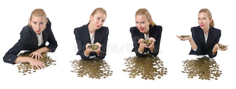 De vrouwenzakenman met muntstukken op wit royalty-vrije stock foto's