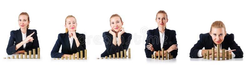 De vrouwenzakenman met muntstukken op wit stock afbeeldingen