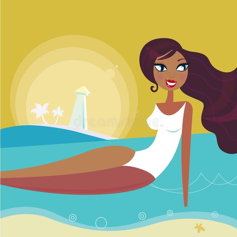 De vrouwenzon van de zomer het looien op Retro strand - stock illustratie