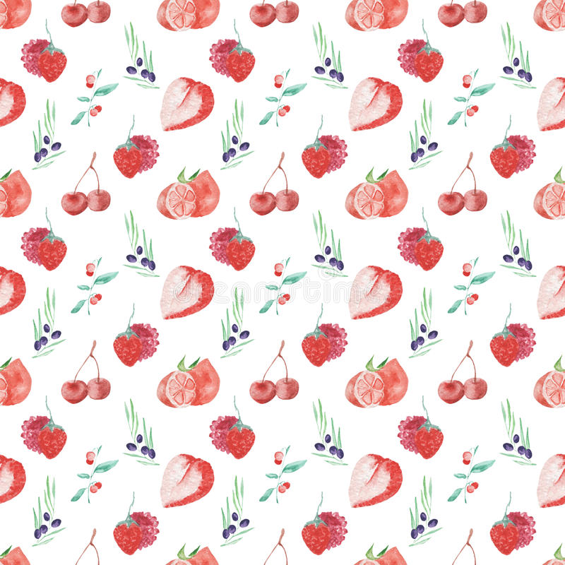 De vruchten en de bessen naadloos ontwerp van het waterverfpatroon op witte achtergrond vector illustratie