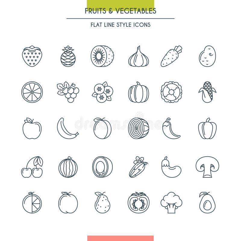 De vruchten en de groenten verdunnen pictogrammen vector illustratie