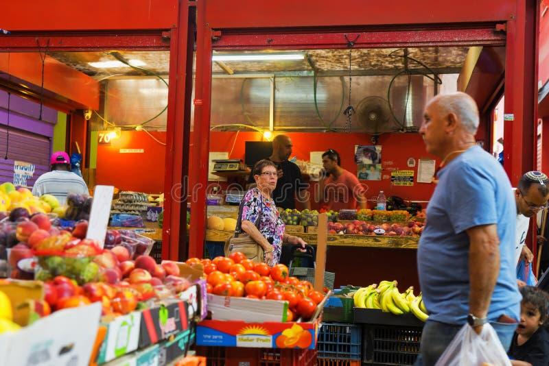 De vruchten en de groenten sluiten markt Hadera Israël stock fotografie