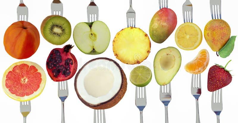 De vruchten op 3d het concept van het vorkdieet geven 3d illustratie terug stock illustratie