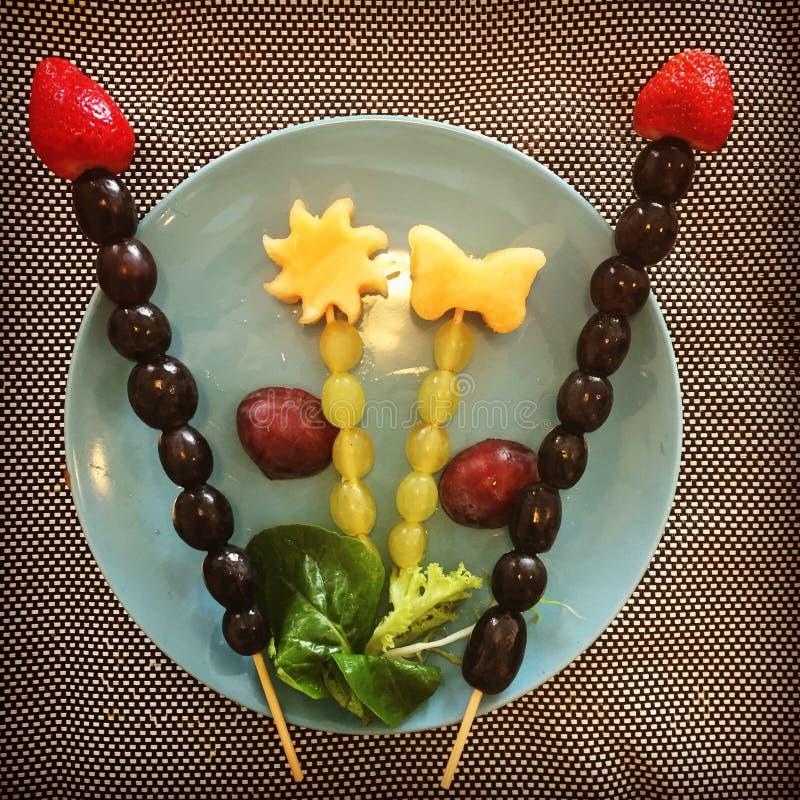 De vruchten op van de fruitpresentationpruim van vleespennendruiven de vlinder van de de aardbeimeloen spelen vleespennen mee royalty-vrije stock fotografie