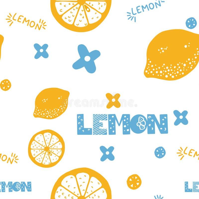 De vruchten overhandigen getrokken naadloos patroon Citroenentextuur Gezonde en verse citrusvruchten witte achtergrond met groene stock fotografie