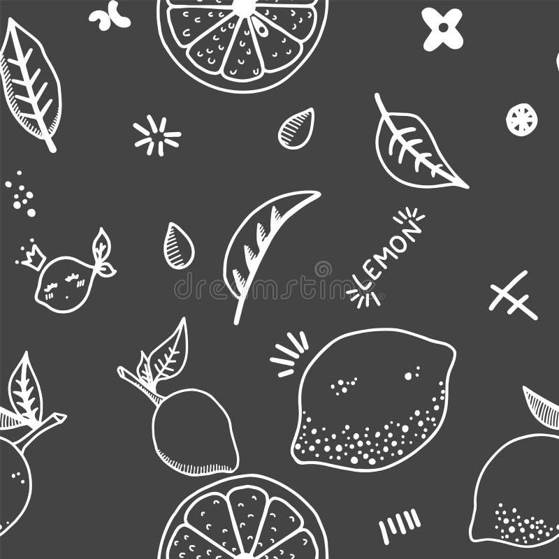De vruchten overhandigen getrokken naadloos patroon Citroenentextuur Gezonde en verse voedsel zwarte achtergrond met witte overzi stock foto