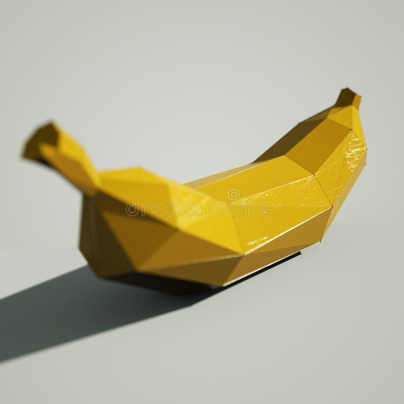 De vruchten van de Lowpolybanaan het 3D teruggeven stock foto