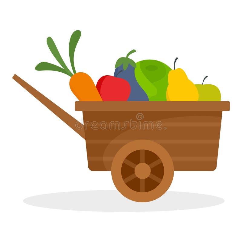 De vruchten van de landbouwbedrijfkruiwagen, groentenpictogram, vlakke stijl vector illustratie