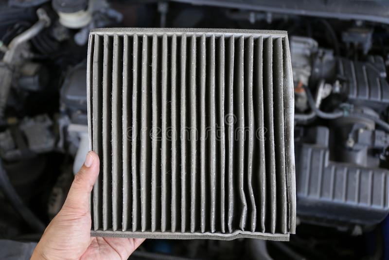 De vuile filter van de cabinelucht voor auto royalty-vrije stock foto's
