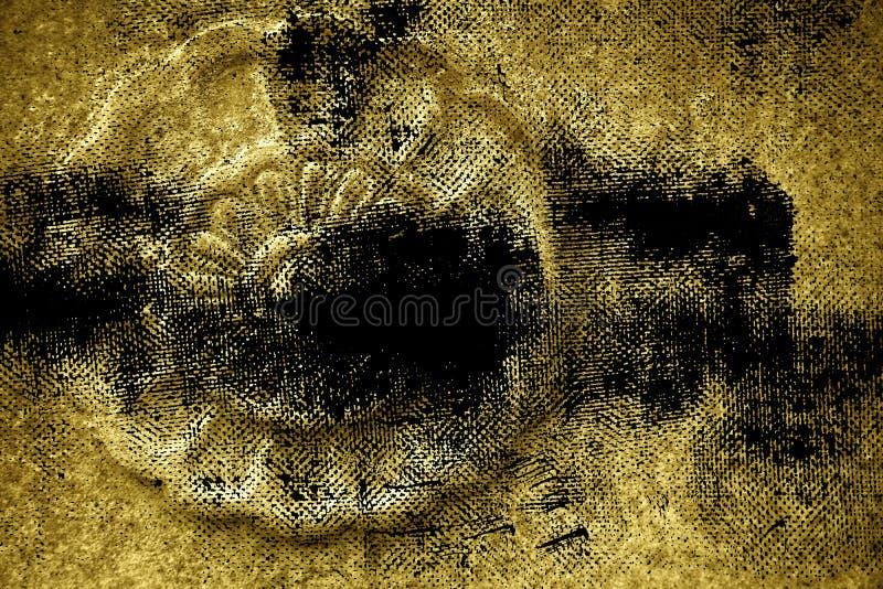 De vuile textuur van de grunge ultra gele Overladen steen, de vorm van de cirkelrots, achtergrond voor website of mobiele apparat stock fotografie